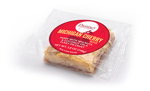 michigan cherry bar individually wrapped - dessert provider to food service industry