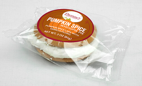 pumpkin spice whoopie pie individually wrapped - dessert provider to food service industry
